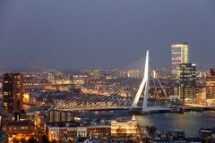 Erasmus bridge Rrotterdam. ROTTERDAM, NETHERLANDS - MAR 16, 2016: Evening view on the Erasmus bridge in Rotterdam royalty free stock photos