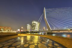 Erasmus bridge seen from Maaskade Royalty Free Stock Images