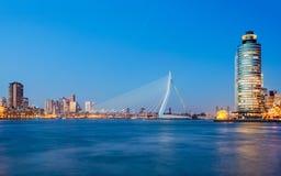Erasmus Bridge. At Twilight, Rotterdam, The Netherlands royalty free stock photography