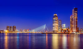 Erasmus Bridge. At Twilight, Rotterdam, The Netherlands stock image