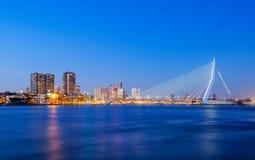 Erasmus Bridge. At Twilight, Rotterdam, The Netherlands stock photography