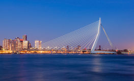 Erasmus Bridge. At Twilight, Rotterdam, The Netherlands stock photos