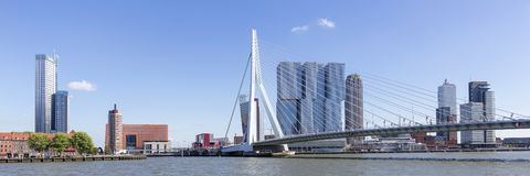 Erasmus most I linia horyzontu kop Van Zuid Okręg W Rotterdam, holandie obraz stock