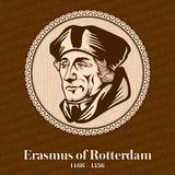 Erasmus of Rotterdam 1466-1536 was a Dutch Christian humanist who was the greatest scholar of the northern Renaissance.  royalty free illustration