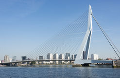 Erasmusbridge in the port of Rotterdam city in Holland Royalty Free Stock Images