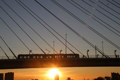 Erasmusbrug, big bridge in Rotterdam named to Erasmus during sunset in the winter. With view over Nieuwe Maas, with silhouette of tram on it Royalty Free Stock Photography