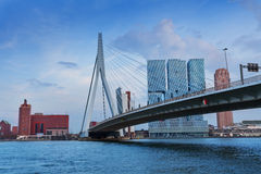 Erasmusbrug bridge in cloudy weather, Rotterdam Royalty Free Stock Photos