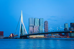 Erasmusbrug bridge view at evening in Rotterdam Stock Images