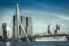 Erasmusbrug Rotterdam Nederländerna Royaltyfri Bild