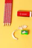 Erasure sharpener and pencils Stock Images