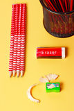 Erasure sharpener and pencils Stock Photo