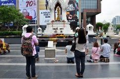 Erawan świątynia, Hinduski świątynia pejzażu miejskiego widok w Bangkok Fotografia Stock