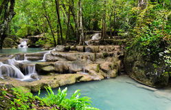 Erawan cascade falls Royalty Free Stock Photos