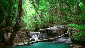 Erawan cascade waterfall. National Park Kanchanaburi, Thailand stock video footage