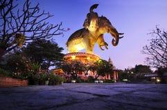 Erawan elephant museum in Thailand. Erawan elephant museum at night in Thailand royalty free stock photography