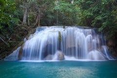 erawan kanchanaburithailand vattenfall Arkivfoton