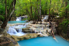 erawan kanchanaburithailand vattenfall Arkivbilder