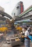 Erawan-Schrein in Bangkok, in dem Bombe gelegt wurde lizenzfreies stockfoto