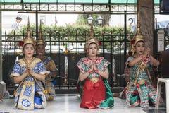 Erawan-Schrein in Bangkok, in dem Bombe gelegt wurde lizenzfreies stockbild