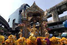 Erawan Shrine in Bangkok stock photo
