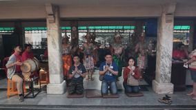 Erawan shrine in Bangkok. Is popular place for prayer in downtown Bangkok stock video