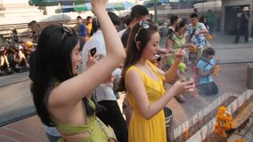 Erawan shrine in Bangkok  stock footage