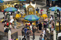Erawan Shrine and people praying Thao Maha Phrom or Lord Brahma at Ratchaprasong Royalty Free Stock Images