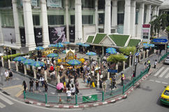 Erawan Shrine and people praying Thao Maha Phrom or Lord Brahma at Ratchaprasong Royalty Free Stock Image