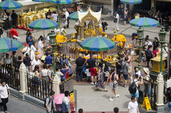 Erawan Shrine and people praying Thao Maha Phrom or Lord Brahma at Ratchaprasong Stock Images