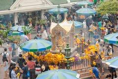Erawan Shrine at Ratcha-prasong Bangkok,Thailand.  Royalty Free Stock Photos