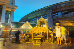 The Erawan Shrine at Ratchaprasong Intersection at night time Royalty Free Stock Image
