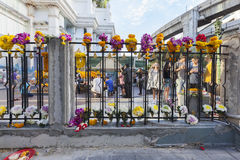 Erawan shrine reopens again for victim family and people mourn. Royalty Free Stock Photography