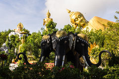 Erawan statue ,Big Reclining Buddha And Standing buddha Stock Photos