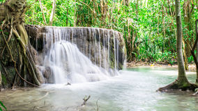 Erawan. Travel routes waterfall Erawan in Kanchanaburi. Thailand. The entire seventh floor Royalty Free Stock Image