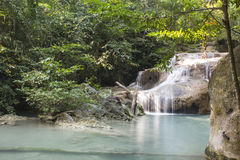 Erawan vattenfall på den Erawan nationalparken Arkivbilder