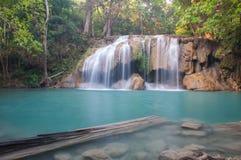 Erawan vattenfall på Kanchanaburi, Thailand Royaltyfria Foton