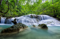 Erawan-Wasserfall, Kanchanaburi, Thailand Stockfotos