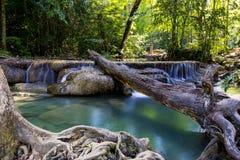 Erawan Wasserfall, Kanchanaburi, Thailand Stockbild
