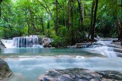 Erawan-Wasserfall in Thailand Stockfotografie