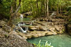 Erawan waterfall Royalty Free Stock Image