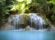 Erawan Waterfall. First level of Erawan Waterfall in Kanchanaburi Province, Thailand Royalty Free Stock Images