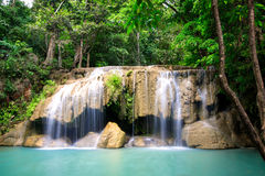 Erawan waterfall on 2nd floors Royalty Free Stock Photography