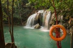 Erawan waterfall. Assistance in preparing the waterfall Stock Image