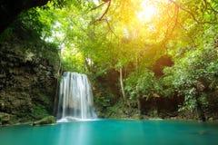 Erawan Waterfall is a beautiful waterfall in spring forest in Ka Stock Photo