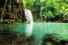 Erawan Waterfall is a beautiful waterfall in spring forest in Ka Stock Image