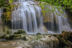 Erawan waterfall in deep forest at Kanchanaburi Province, Thailand Stock Photo