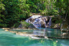 Erawan waterfall in deep forest Stock Photos
