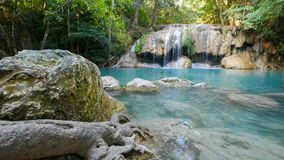 Erawan Waterfall dolly shot, Kanchanaburi, Thailand stock footage