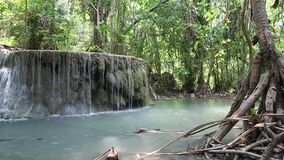 Erawan Waterfall in Erawan National Park in western Thailand stock video
