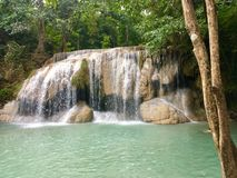 Erawan waterfall. At National park tourist attraction in Thailand Royalty Free Stock Image